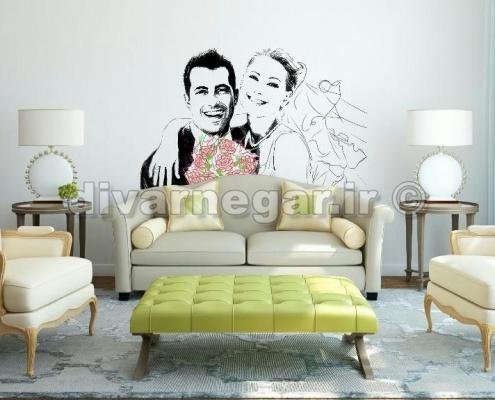 نقاشی دیواری عروس و داماد