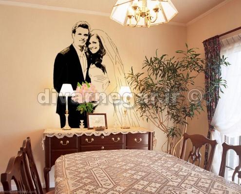 نقاشی عروس و داماد روی دیوار