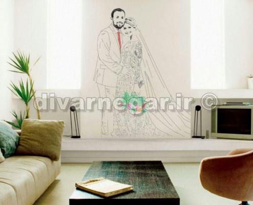 گرافیتی عروس و داماد