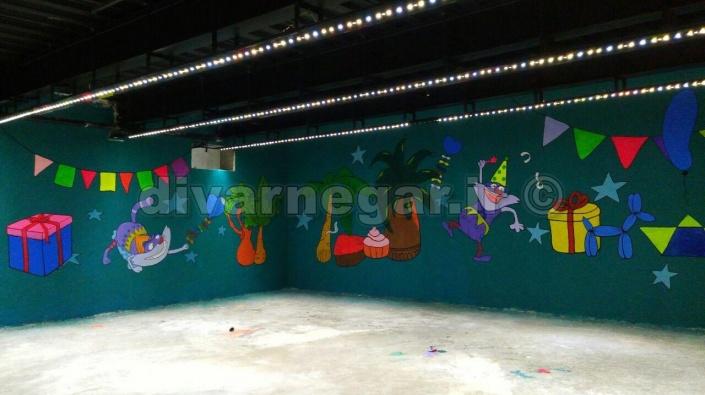 نقاشی یواری اتاق تولد شهربازی ماجراهای پالاس