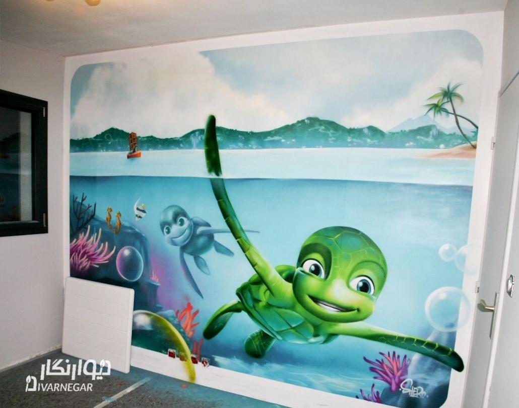 نقاشی دیواری انیمیشن کودکانه