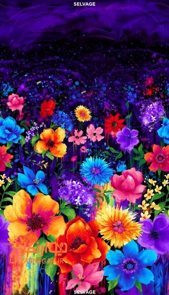نقاشی بلک لایت گل های رنگی